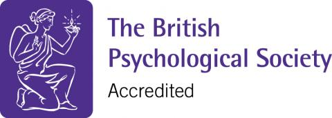 Logo of the British Psychological Society showing the University's teaching is accredited by them