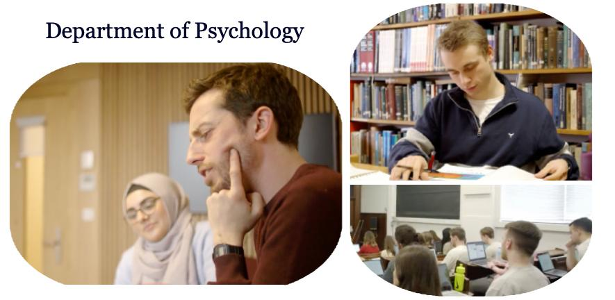 Students in the psychology library, classes and meeting